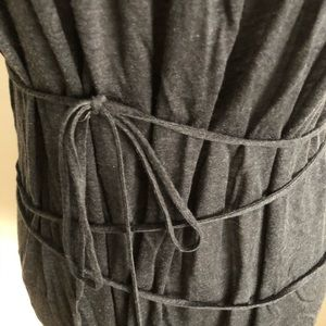 Three Dots Tops - Charcoal gray long top w/ wraparound string detail